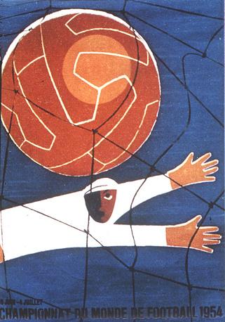 Плакат ЧМ-1954 в Швейцарии. Команда ФРГ выиграла турнир, победив в финале сборную Венгрии - 3:2