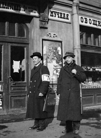 Городская народная милиция на Каменноостровском проспекте в Петрограде, 1917 год