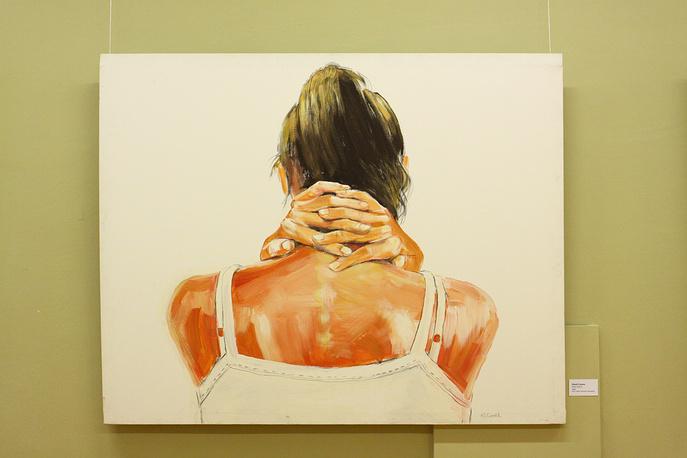 """Руки. Плечи"". Юрий Сычов. Холст, акрил, цв.карандаши. 2008 г."