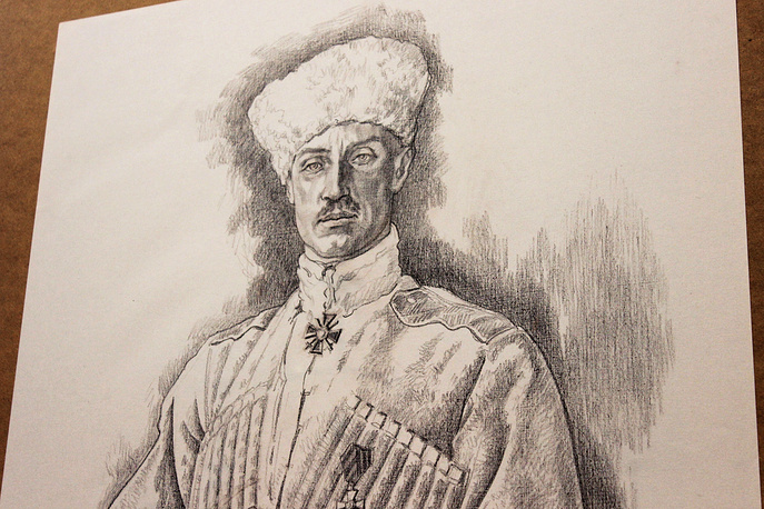 Портрет барона Петра Врангеля. Тонированная бумага, сепия, 2014 год. Графика Алексея Лопато