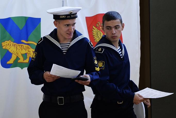 Голосование курсантов Тихоокеанского военно-морского института во Владивостоке