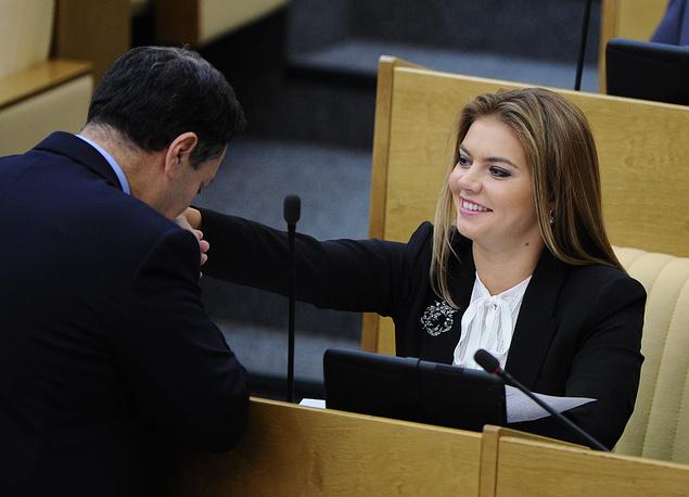 Председатель комитета ГД по бюджету Андрей Макаров и депутат Алина Кабаева