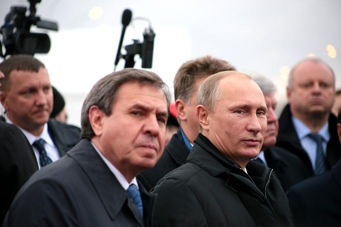 Губернатор Новосибирской области Владимир Городецкий и президент РФ Владимир Путин (слева направо)