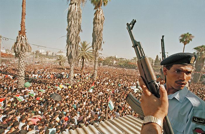 Митинг, посвященный возвращению Арафата в Палестину. Сектор Газа, 1 июля 1994 года
