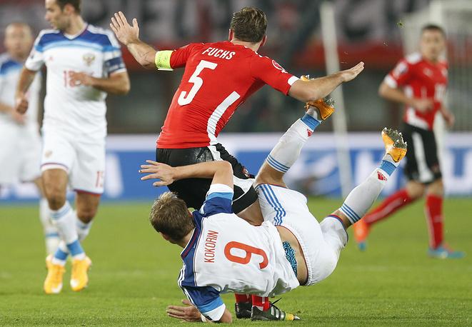 Нападающему Александру Кокорину не удалось поставить в тупик защиту сборной Австрии