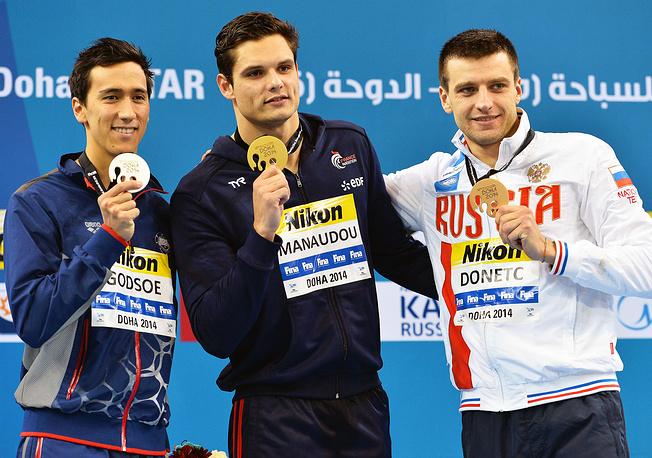 Россиянин Станислав Донец стал бронзовым призером на пядидесятиметровке на спине, уступив Флорану Маноду (Франция) и Юджину Годсоу (США)
