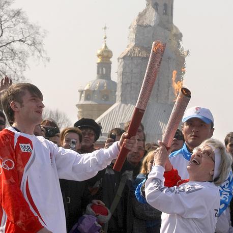 На эстафете огня летней Олимпиады-2008