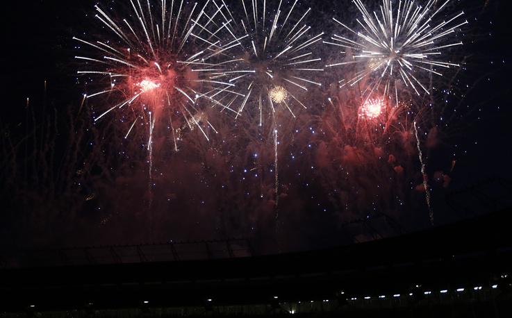 Фейерверк, ознаменовавший закрытие Кубка африканских наций по футболу