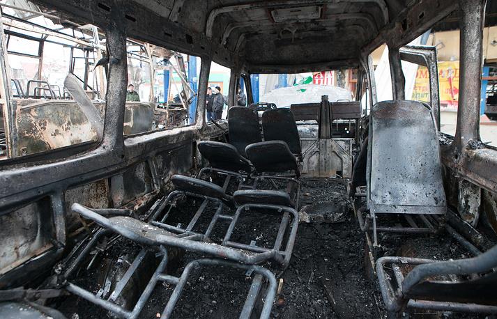 Сгоревший автобус на автостанции