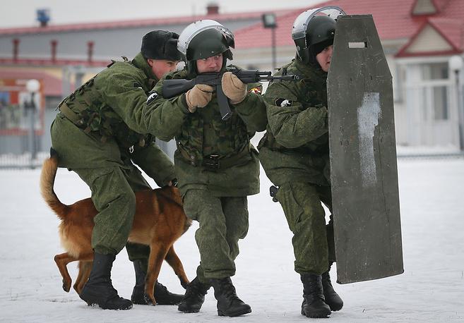 Изготовка к штурму. Задача служебной собаки - обездвижить противника и дать возможность захватить его живым