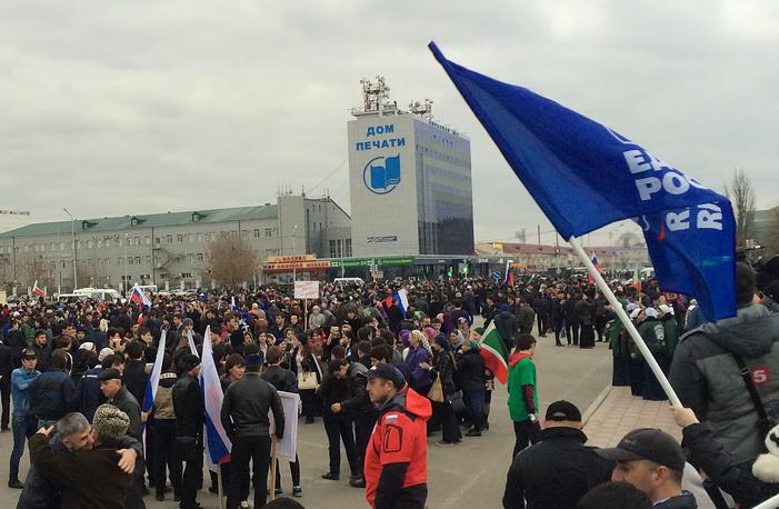 Митинг, посвященный годовщине присоединения Крыма к России, в Грозном