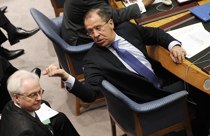 Глава МИД РФ Сергей Лавров и постоянный представитель РФ при ООН Виталий Чуркин  на заседании Совета безопасности ООН, 2012 год