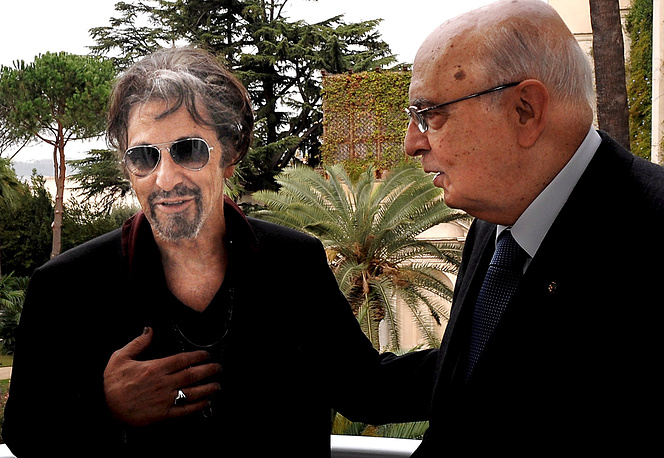Итальянский президент Джорджио Наполетано и Аль Пачино во дворце в Риме, 2008 г