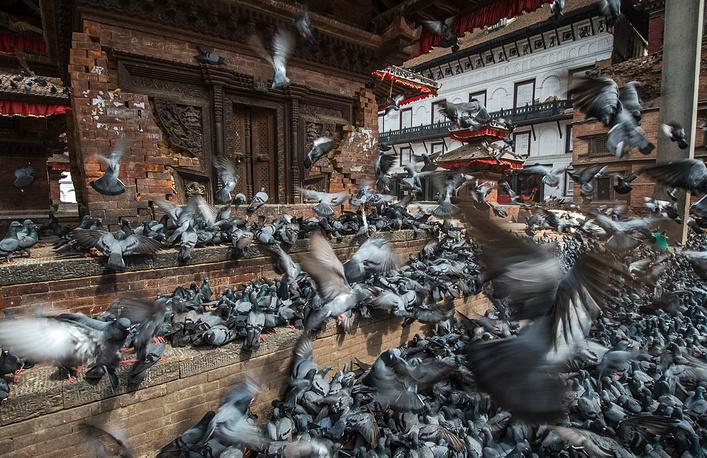 Уцелевшая пагода в центре Катманду