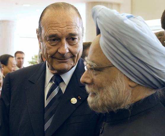 Президент Франции Жак Ширак и премьер-министр Индии Манмохан Сингх во время приема в Государственном Кремлевском дворце, 2005 год