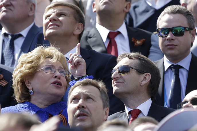 Спикер Совета Федерации РФ Валентина Матвиенко и спикер Госдумы РФ Сергей Нарышкин