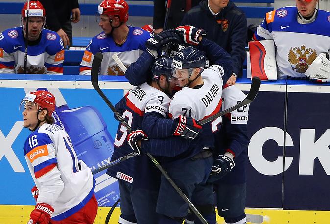 Хоккеисты сборной Словакии после гола в ворота сборной России