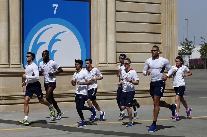 Британские спортсмены во время тренировки в Деревне атлетов