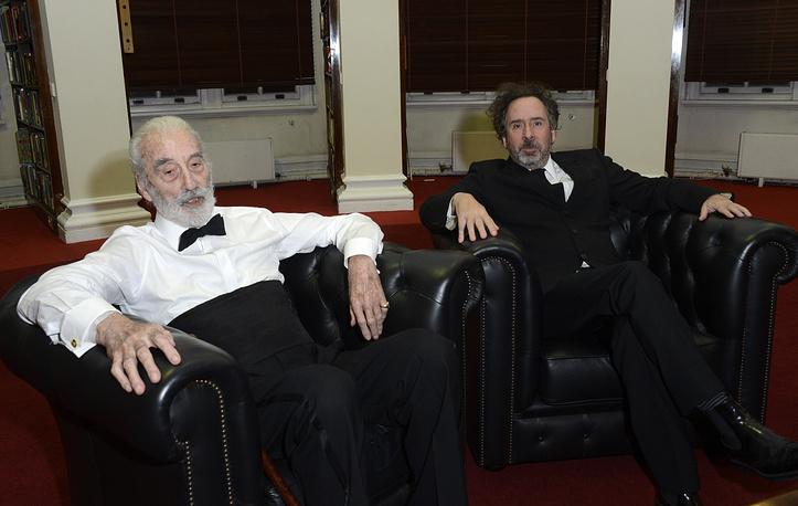 Кристофер Ли и кинорежиссер Тим Бёртон на кинофестивале в Лондоне. 2012 год