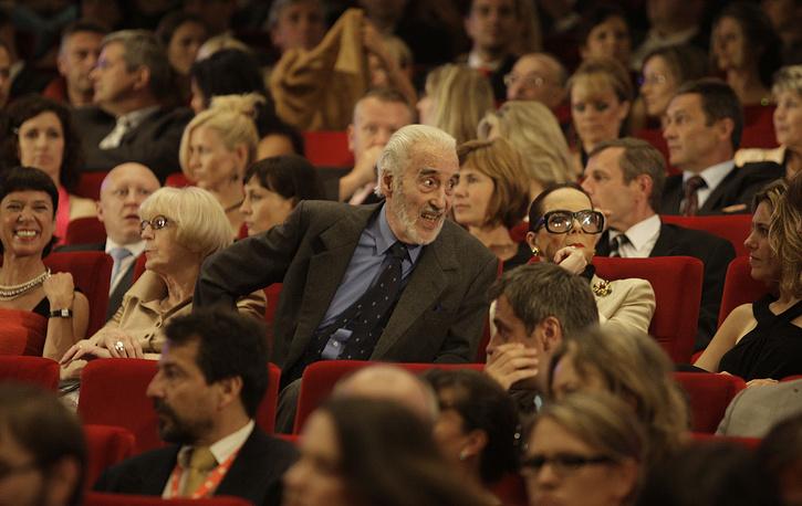 Кристофер Ли с женой на кинофестивале в Карловых Варах. 2008 год