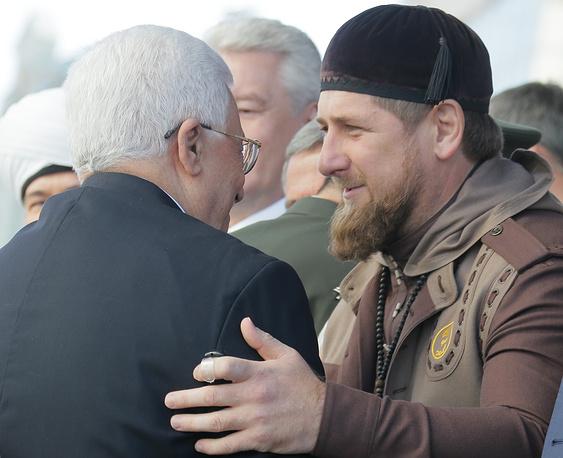 Президент Палестины Махмуд Аббас и глава Чечни Рамзан Кадыров на открытии Московской Соборной мечети