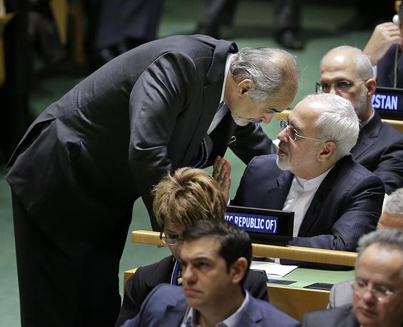 Постпред Сирии при ООН Башар Джафари и глава МИД Ирана Мохаммад Джавад Зариф