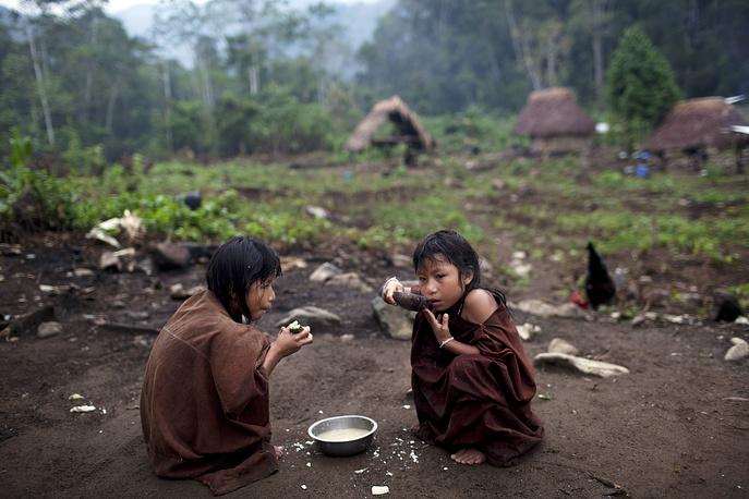 Тема 2015 года - перспективы для девочек-подростков до 2030 года. Это связано с реализацией Целей устойчивого развития, которые были приняты в сентябре этого года на саммите в Нью-Йорке. На фото: девочки из южноамериканского племени Ашанинка во время завтрака, Перу