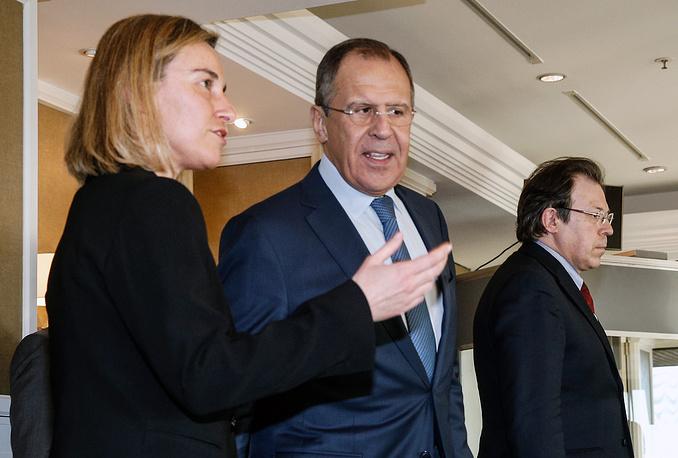 Верховный представитель Европейского союза по иностранным делам и политике безопасности Федерика Могерини и министр иностранных дел РФ Сергей Лавров