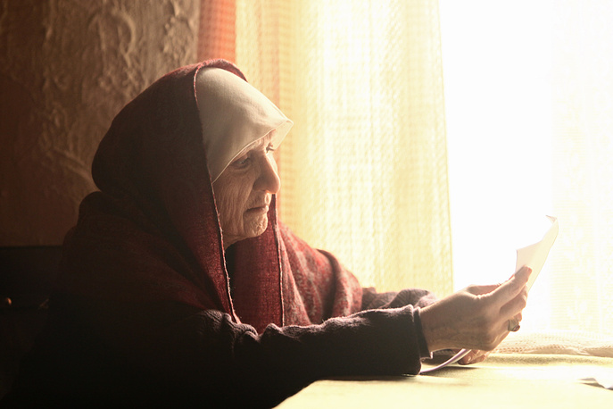 "На съемках многосерийного фильма ""Вангелия"" в роли Ванги, 2012 год"