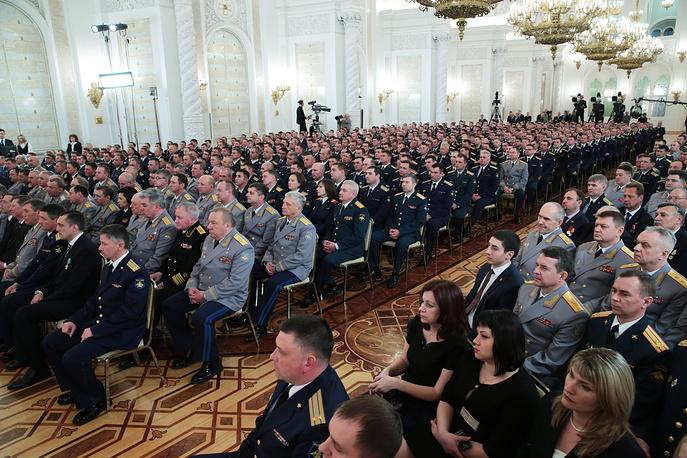 Церемония вручения государственных наград военнослужащим и специалистам военно-промышленного комплекса, отличившимся в ходе выполнения специальных задач в Сирии