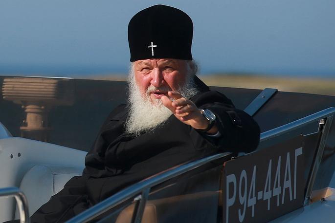 Патриарх Московский и всея Руси Кирилл во время посещения Большого Заяцкого острова Соловецкого архипелага