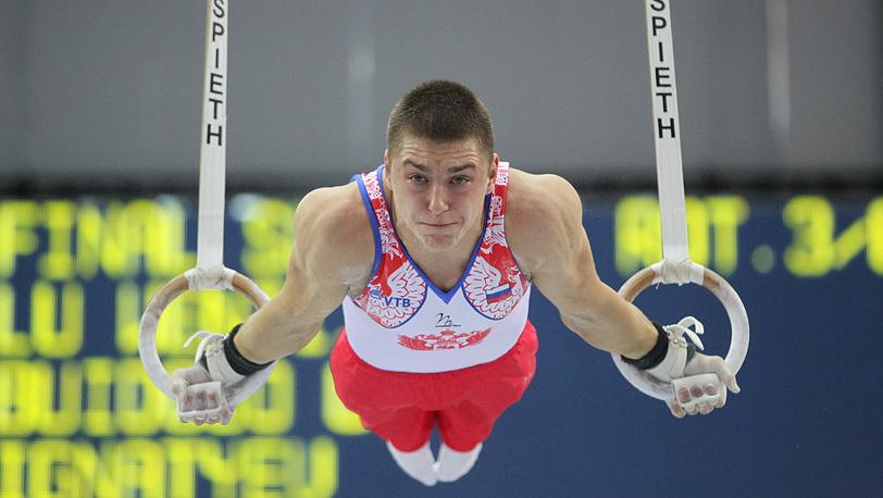 Россиянин Никита Игнатьев во время выступления в финале соревнований по спортивной гимнастике