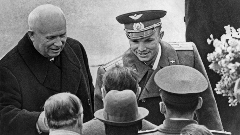 Встреча первого космонавта Юрия Гагарина в аэропорту Внуково