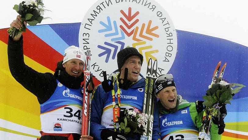 Слева направо: Ларс Бергер /2-е место/,  Бьорн Ферри /1-е место/ и Карл-Йолхан Бергман /3-е место/ в спринтерской гонке на 10 км
