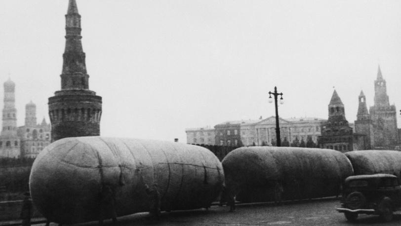Аэростаты ПВО на Москворецком мосту