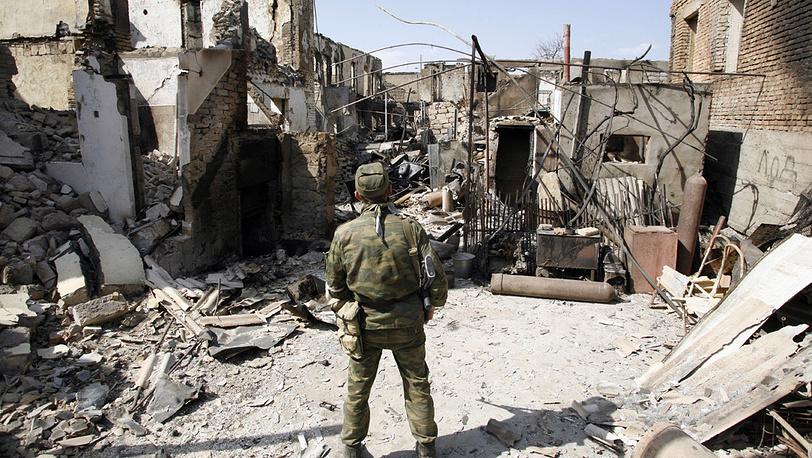 В одном из разрушенных районов Цхинвали. Фото ИТАР-ТАСС/ Валерий Матыцин