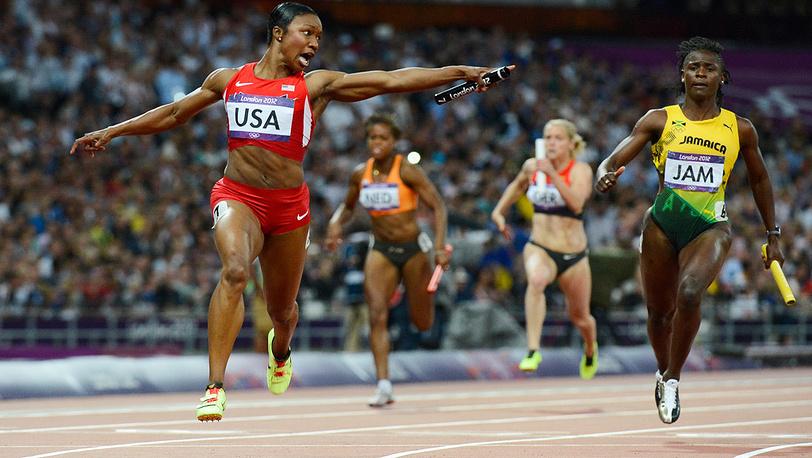 Финал женской эстафеты 4х100 м