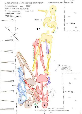 Схема обнаружения останков, из буклета со знаменательной выставки /Фото предоставлены Управлением археологии Цюриха/