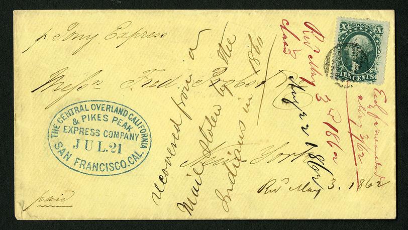 Конверт Пони-экстресс, 1860. Фото Smithsonian National Posta Museum