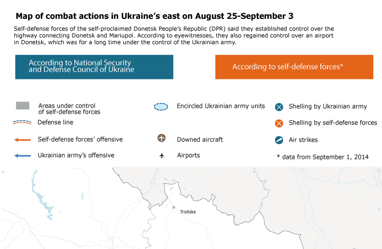 Map of combat actions in Ukraine's east on August 25-September 3