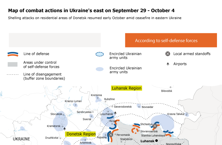 Map of combat actions in Ukraine's east on September 29 – October 4