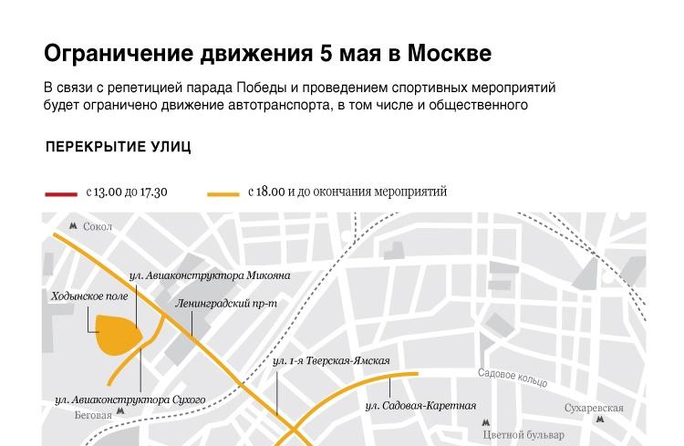 Ограничения движения 5 мая в Москве
