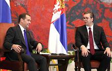 Премьер-министр России Дмитрий Медведев и президент Сербии Александар Вучич