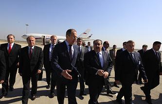 Sergei Lavrov (left) with Iraq's Foreign Minister Hoshiyar Zebari