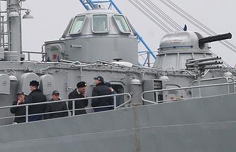 "Servicemen smoking onboard Ukrainian Navy command and control ship ""Slavutych"""