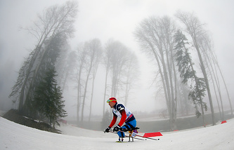Roman Petushkov of Russia in action during the Biathlon Men's 12.5km Sitting competition
