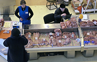 Meat section at a Russian market