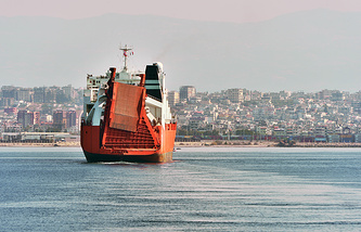 Vessel 'Taiko' entering the harbour of Latakia to load chemical weapons