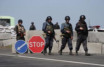 Ukrainian military servicemen in the east of Ukraine