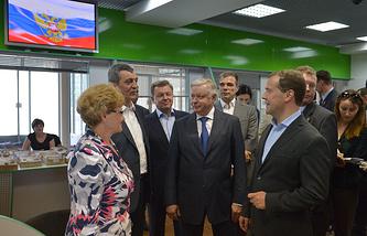 Dmitry Medvedev (right) in Crimea's Sevastopol